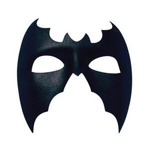Plain black bat mask superhero fancy dress masquerade man halloween large mens ebay - Masque halloween a fabriquer ...