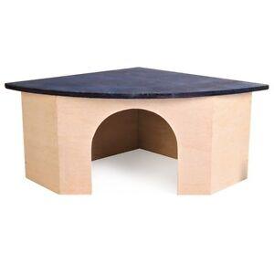 Trixie-BLUE-Roof-Corner-Wooden-Mice-Hamster-Rabbit-Guinea-Pig-Pet-House