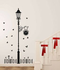 69000115 | Wall Stickers Black Antique Street Lamp with Butterflies