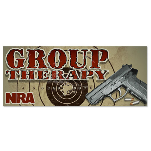 NRA Bumper Sticker GROUP THERAPY window decal 2nd Amendment Political DTOM Logo