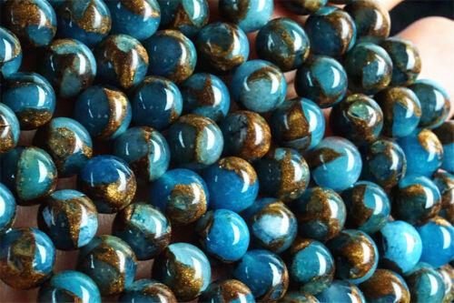 B003 6pcs 8mm Sky Blue Gold Copper Bornite Stone Sphere Ball Loose Beads