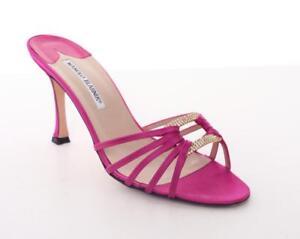 0743b3cc3aab MANOLO BLAHNIK Hot Pink Satin High Heel Crystal Open-Toe Sandal ...