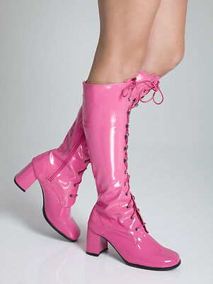 Hot Pink Knee High Eyelet Boots - 60s 70s Pink Fashion Boots - Sizes UK 3 - 11