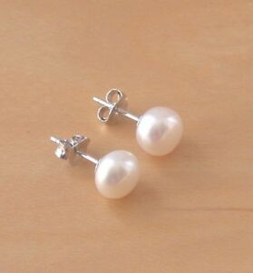 Image Is Loading 925 White Freshwater Pearl Stud Earrings Studs