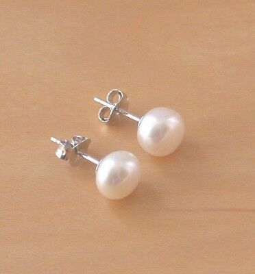 925 Stamped Sterling Silver White AAA Double Freshwater Pearl Stud Earrings Gift
