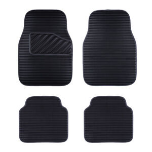 Car-Floor-Mat-Universal-Black-Side-Front-Rear-Leather-4-PC-for-SUV-VAN-SEDAN