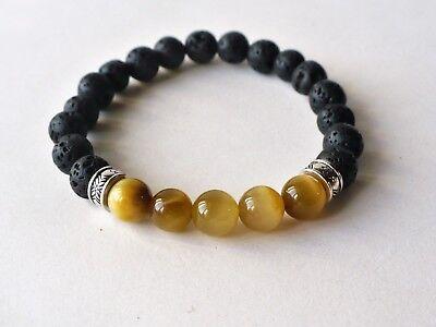 pierres de lave 8 mm Bracelet élastique oeil de tigre blond pierre fine