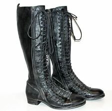 ANN DEMEULEMEESTER Black Leather Triple Lace Combat Military Boots 41