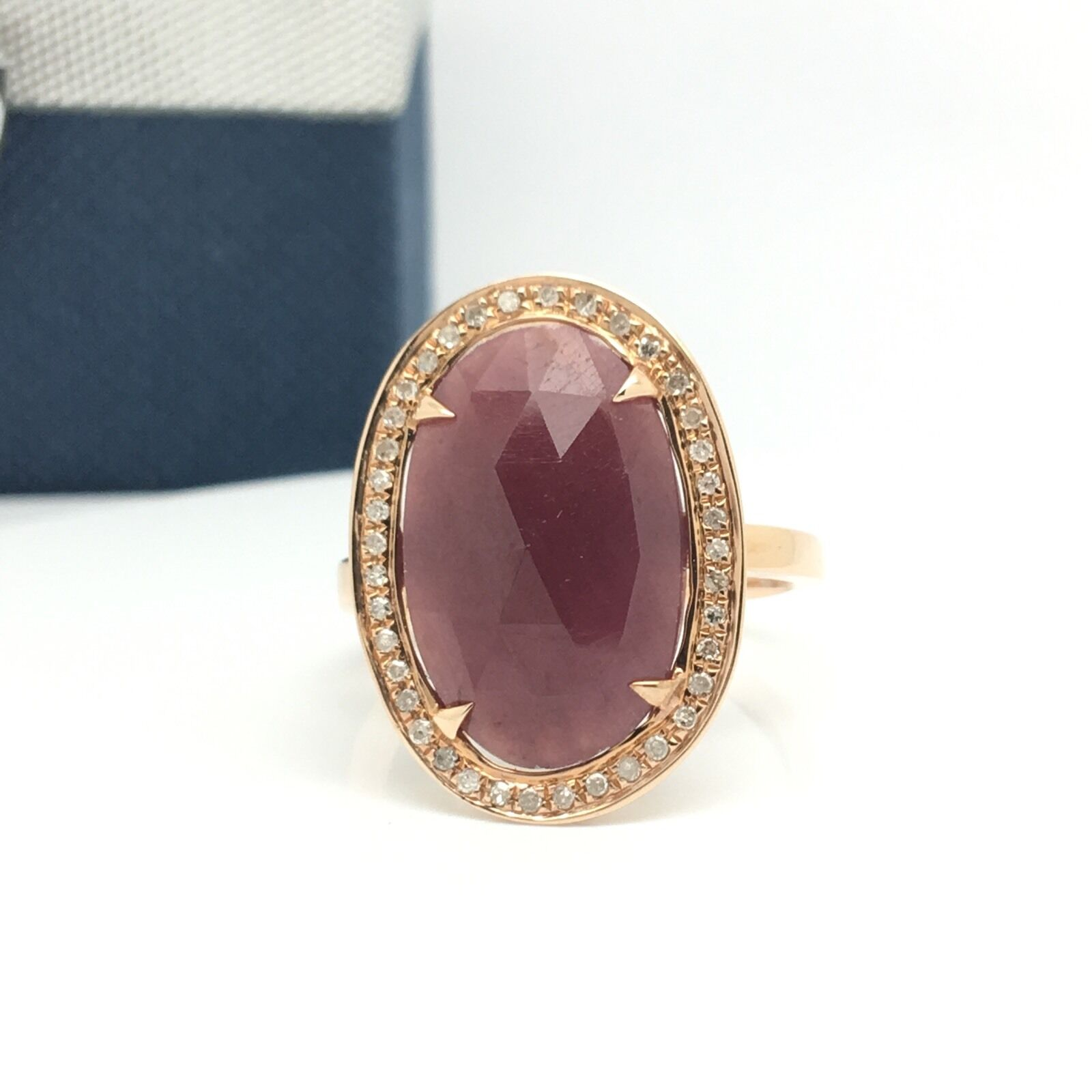 14k pink gold Diamond And Opaque Ruby Oval Shape Ring