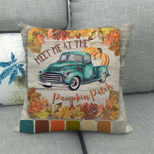 Autumn Harvest Thanksgiving Pumpkin Truck Home Decor Cushion Cover Pillow Case