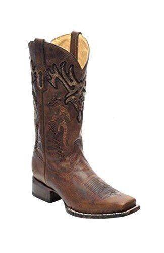 Corral Para Hombre Marrón superposición de dedo del pie cuadrado tejido botas de vaquero R1416