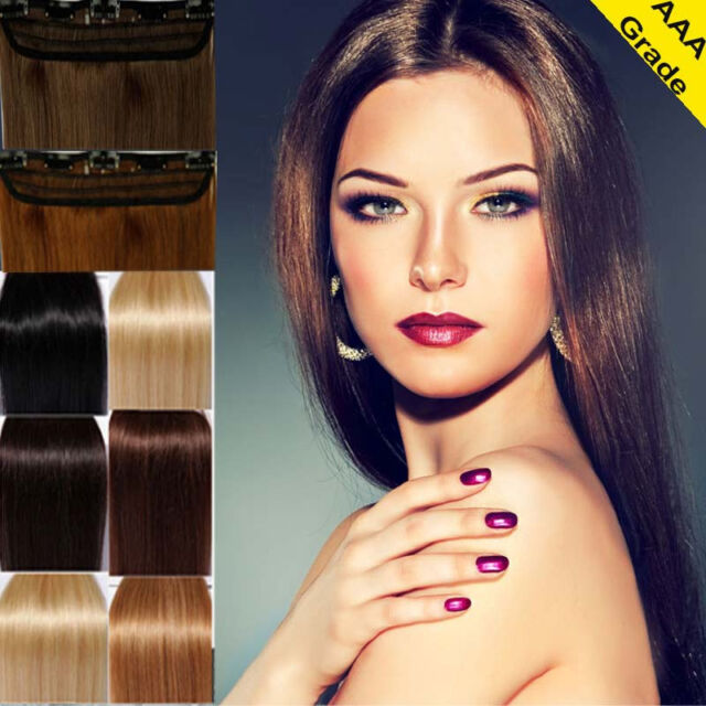 "18"" 20 22 One Piece Clip In 100% Remy Real Human Hair Extensions US On Sale N104"