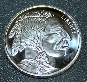 One Troy Ounce 999 Fine Silver Liberty Indian Head