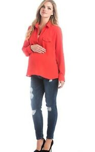 S Blouse Lilla Maternity Chiffon 6 Top Us Tomato Open 4 Size Placket Sqw8TBXw