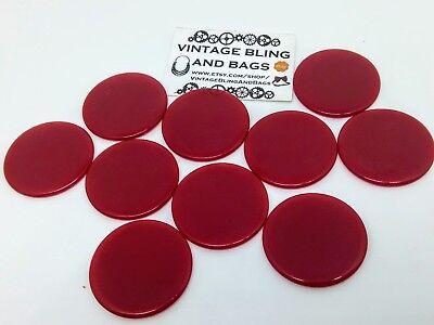 10 Rosso 35mm 1920s Vintage Games Contatori, Rosso Token, Presto In Plastica Gioco Delle Pulci-mostra Il Titolo Originale