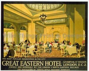 Vintage railway poster great eastern hôtel 178 A2 /& A3