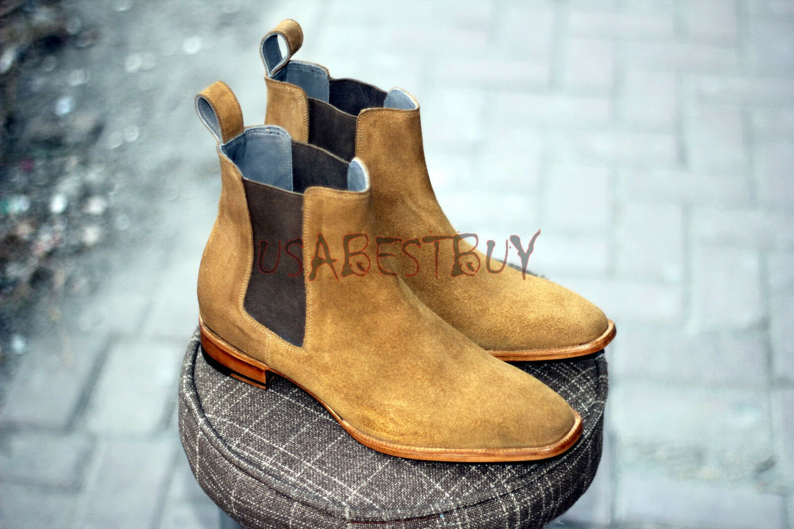 New Handmade Uomo Chelsea Suede Leather Boots in Tan suede Shade, Uomo suede Tan boots a036d3
