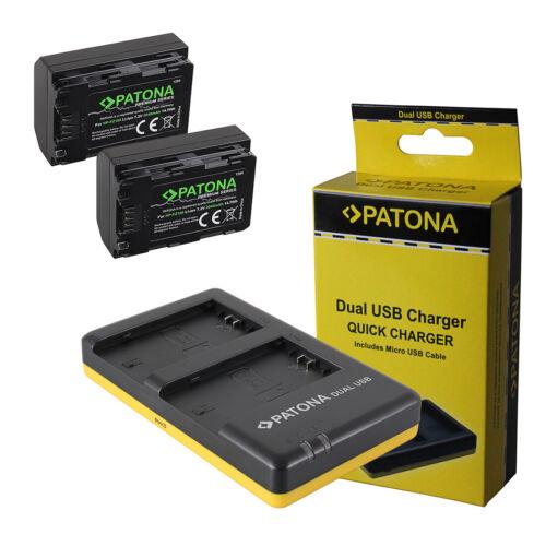2x Batteria Patona Premium DUAL USB Quick Charger per Sony Alpha A7 III