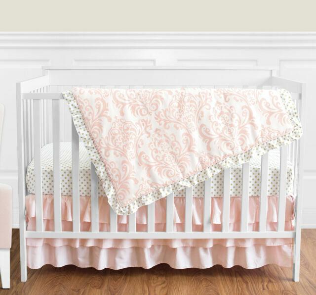 Sweet Jojo Designs Amelia 4 Pc Crib Bedding Set Pink Damask Gold Nursery For Sale Online Ebay