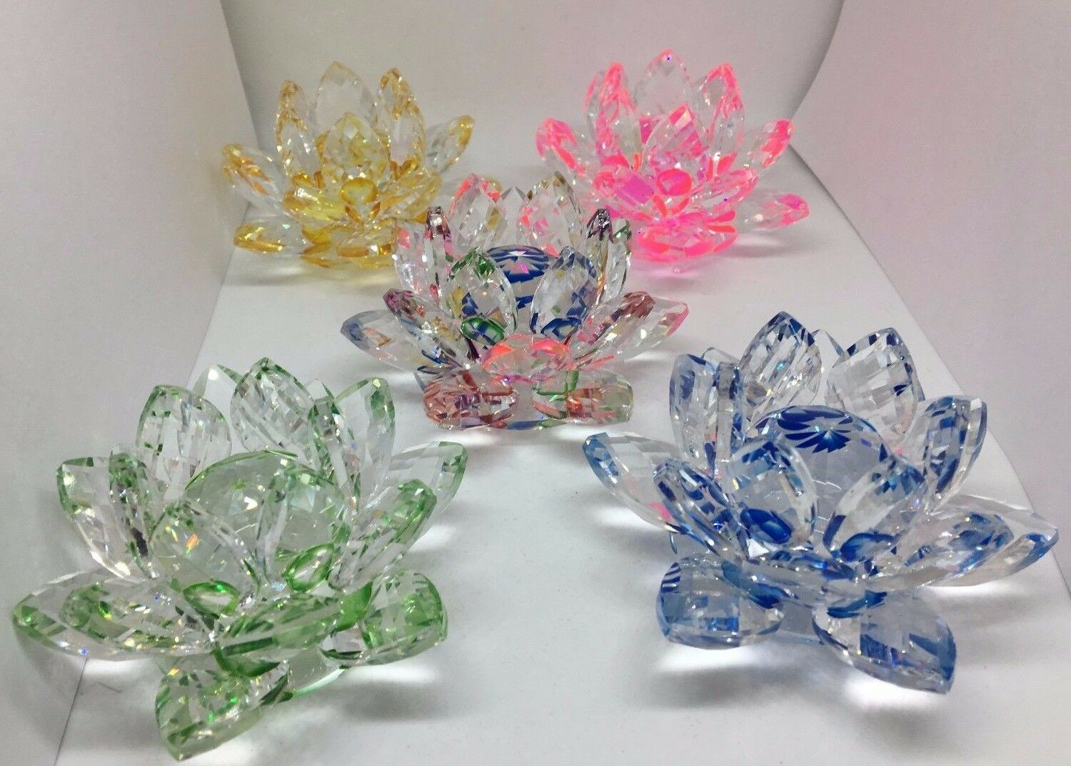 Feng Shui 3 Crystal Lotus Flower Colors Blue Multi Pink Blue