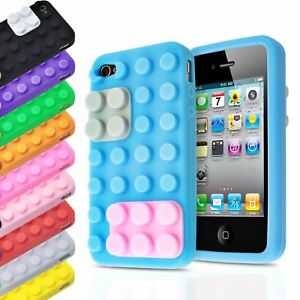 Details about 3D BUILDING BLOCKS LEGO BRICK SOFT SILICONE STAND CASE COVER FOR IPHONE 4S / 4