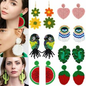 Fashion-Boho-Glass-Seed-Bead-Tassel-Stud-Earrings-Drop-Dangle-Women-Earrings-Hot
