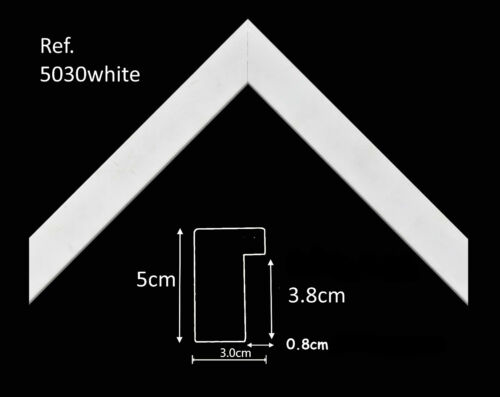 White Black 30mm Wide Flat Stretched Canvas Frame Mirror Picture Frame Moulding
