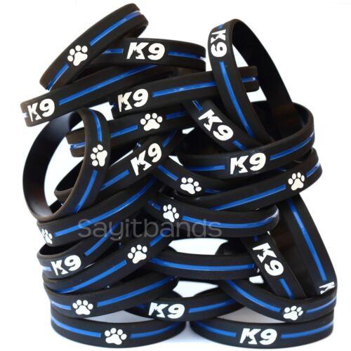 Thin Blue Line Canine Police Bracelet 100 of K9 Wristbands K-9 Bracelets