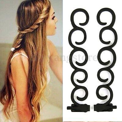 2Pcs Waterfall Twist Roller French Braid Twist Back Hair Styling Tool Clip
