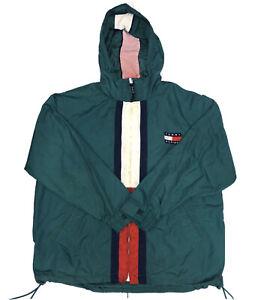 Vintage-90s-Tommy-Hilfiger-Men-s-Green-Full-Zip-Windbreaker-Rain-Jacket-Sz-Large