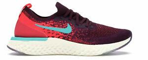Women's Nike Epic React Flyknit 2 Running Shoes AR5518 600 Bordeaux Hyper Jade