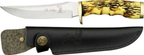 ELK RIDGE HUNTING KNIFE with LEATHER SHEATH ER 027
