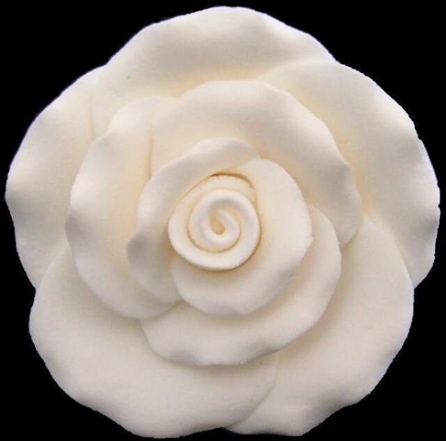 1 wired large white sugar rose head wedding birthday cake topper decoration