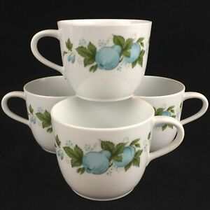 Set-of-4-VTG-Mugs-2-3-4-034-by-Noritake-Blue-Orchard-Cookin-Serve-Fruit-6695-Japan