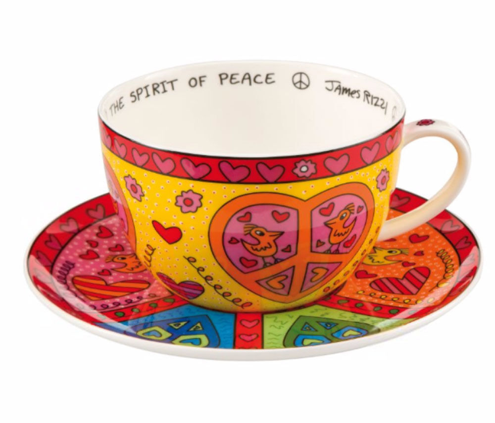 James Rizzi The spirit of Peace Cappuccinotasse mit Unter by Goebel Jumbotasse