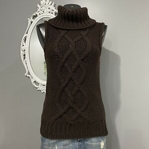 Medium-J-CREW-Womans-Vintage-90s-Brown-Sleeveless-Turtleneck-Sweater