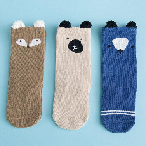 3 Paare Mädchen Junge Kinder Neugeborene Cartoon Kniestrümpfe Kleinkind Socken