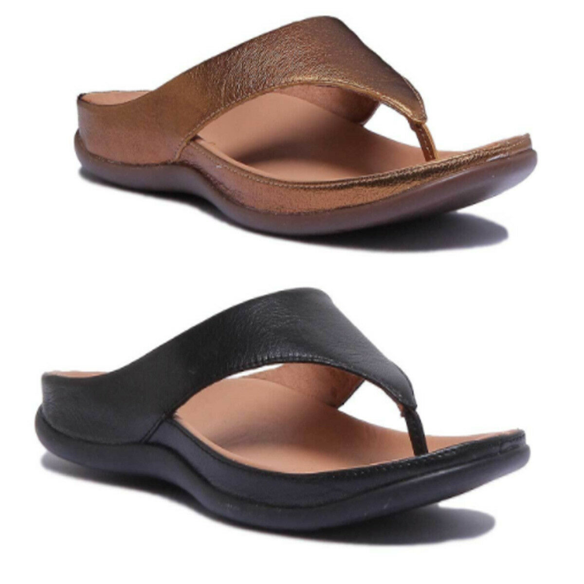 Strive Maui Women Leather Sandals Matt Bronze Toe Post Sandals Leather Size UK 3 - 8 0aa3b0