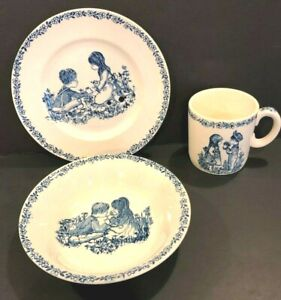 Vintage-Alfred-Meakin-Childs-3-Piece-China-Set-Blue-Stamped-England