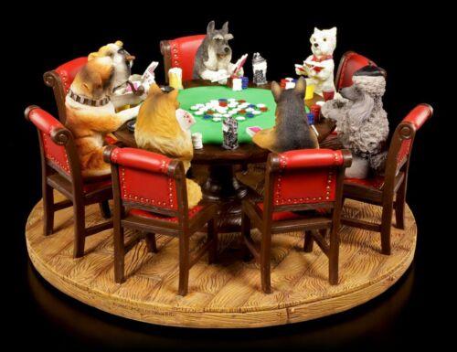 Hunde spielen Poker Figur Deko lustig pokernde Hunde