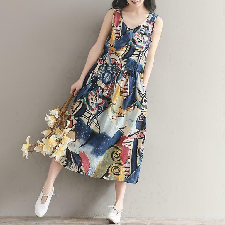 Women Long Summer Bohemia Beach Skirts Dresses Cotton Linen Floral Holiday