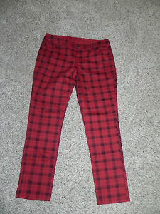 THE-LIMITED-DENIM-678-JEANS-WOMENS-SIZE-2-INSEAM-30-PLAID-COLORED-SKINNY-NWT