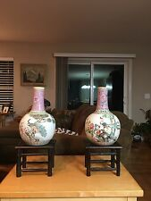 PR. FABULOUS CHINESE FAMILLE ROSE PORCELAIN VASES, PEACOCK AND ROOSTER SIGNED