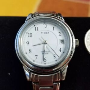 Timex-Indiglo-Womens-Analog-Watch-Date-50M-Stainless-Steel-Case-and-Band