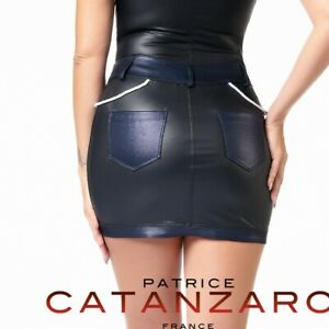 Patrice-Catanzaro-Peggy-Mini-jupe-sexy-navy-en-wetlook-noir-et-bleu-jean