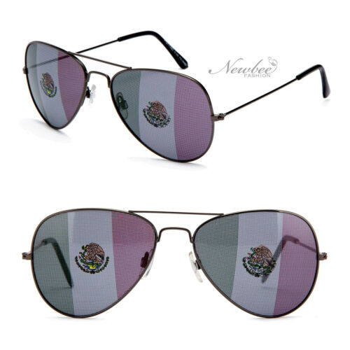Aviators Sunglasses with Printed Mexican Flag Lens Mexico World Cup