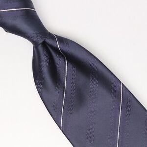 Gladson-Mens-Silk-Necktie-Navy-Blue-White-Pinstripe-Pin-Stripe-Weave-Woven-Tie