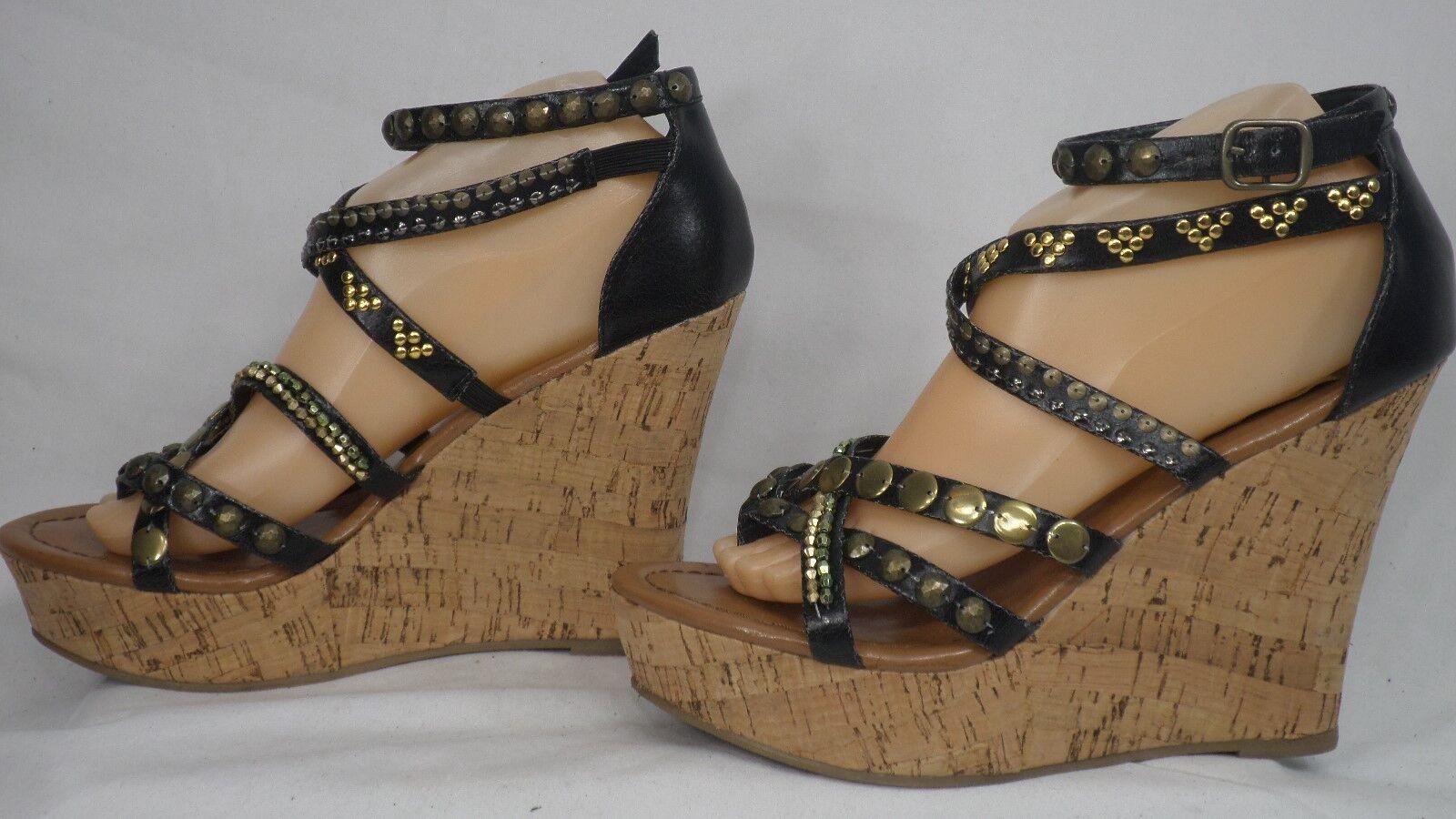 f2b10378d46 Steve Madden  Quickk  Black Studded Platform Cork Wedge Sandal Women Size 9  M
