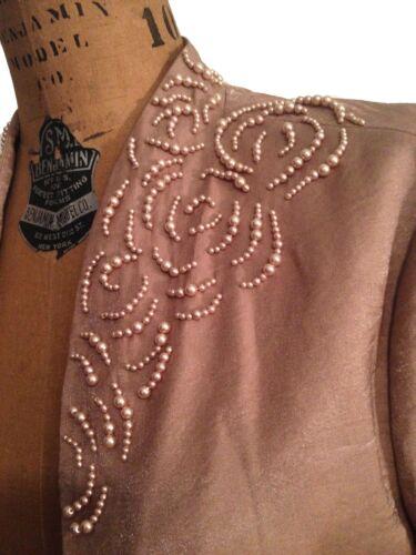 Collar Floral Camel Jakke Brown Pearl Motiver Bolero Adrianna sz10 W Beskåret På vx6qOA
