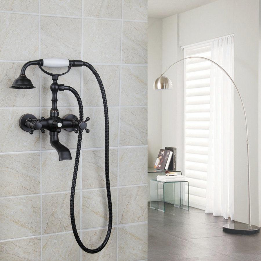 Bronzo lucidato olio Wall Mount Clawfoot vasca rubinetto con rubinetto miscelatore doccia a mano